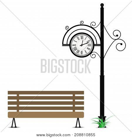 Retro clock and wooden bench. Vintage clock on pole and bench elegance for seat in park. Vector illustration