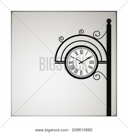Vintage poster banner with copyspace for note. Retro template card wih clock in victorian style. Vector illustration