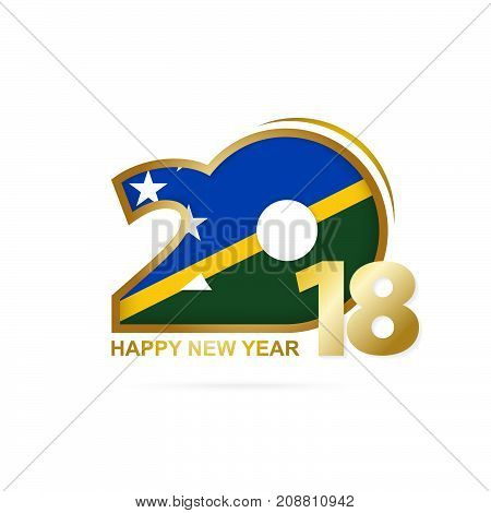 Year 2018 With Solomon Islands Flag Pattern. Happy New Year Design.