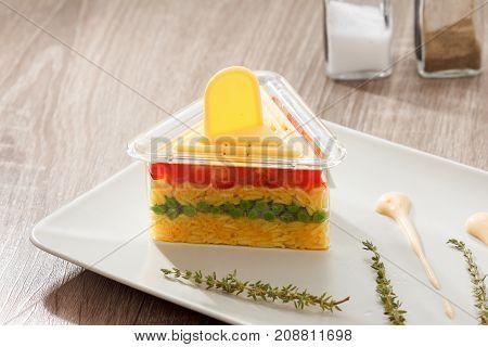 Vegetarian food serving rice salad with vegetables healthy eating