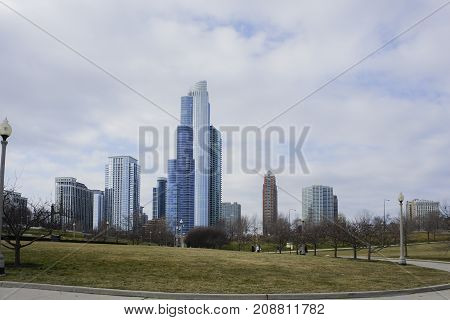 Skyscapers And Skylin Of Chicago From Milennium Park