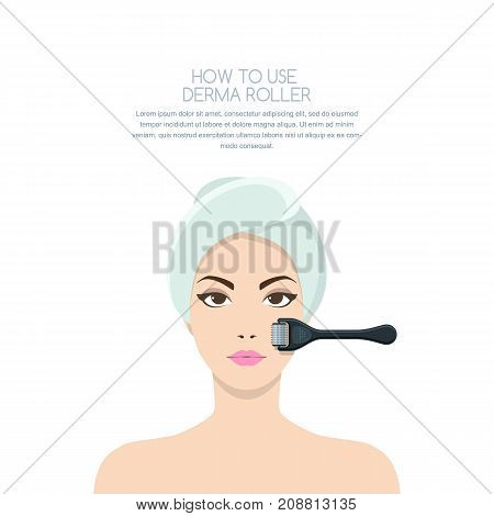 Woman Having Rejuvenating Derma Roller Therapy. Vector Illustration Of Anti-aging Non Surgery Medica