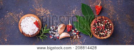 Herbs and spices. Culinary background. Top view, banner for site designe