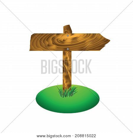 Wood Arrow Board Isolated on White Background