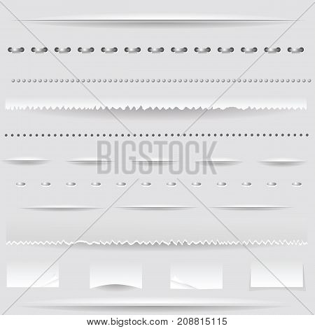 set of different dividers isolated on grey background