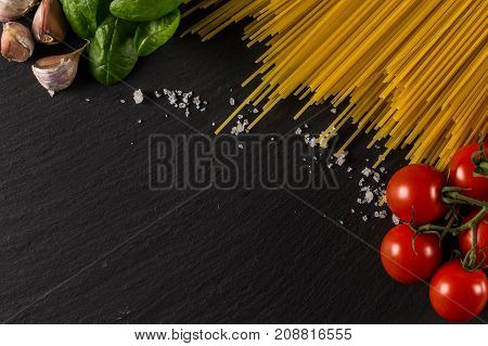 Culinary Background For Pasta, Tomato, Herbs And Spices