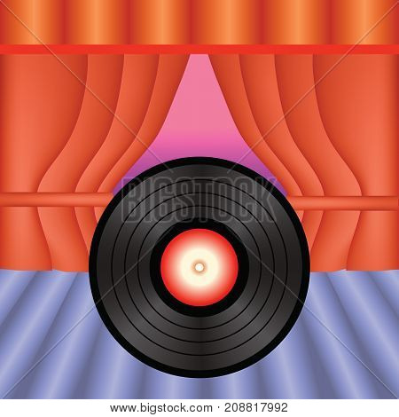 Plastic Vinyl Record. Plate on Stage with Red Curtains