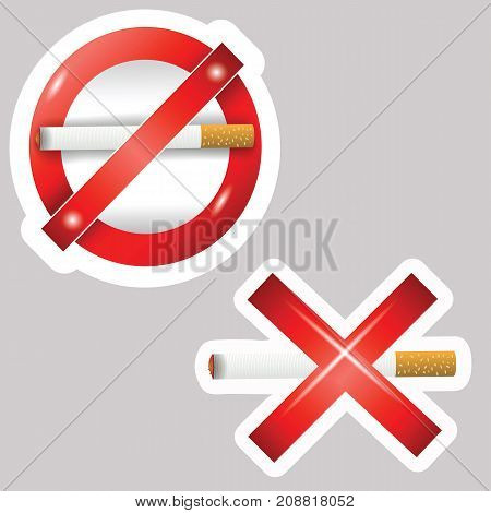 Burning cigarette stickers isolated on grey background