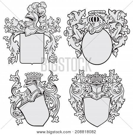 Vector image of four medieval coats of arms executed in woodcut style isolated on white background. No blends gradients and strokes.