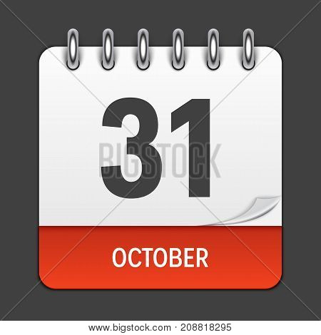 October 31 Calendar Daily Icon. Vector Illustration Emblem. Element of Design for Decoration Office Documents and Applications. Logo of Day, Date, Month and Holiday. EPS10
