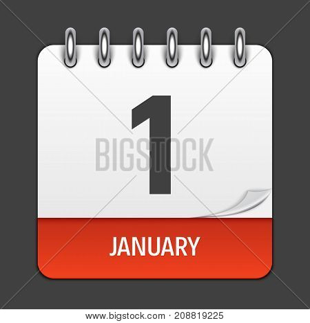 January 1 Calendar Daily Icon. Vector Illustration Emblem. Element of Design for Decoration Office Documents and Applications. Logo of Day, Date, Month and Holiday. New Year. EPS10