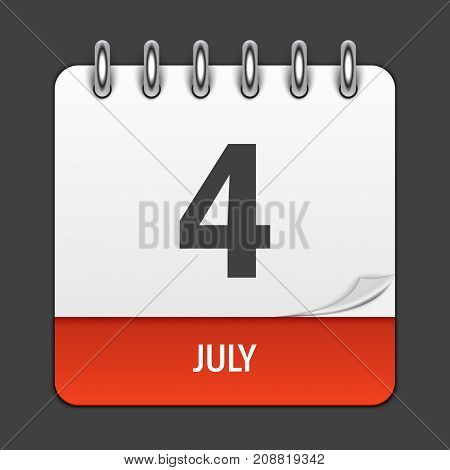 July 4 Calendar Daily Icon. Vector Illustration Emblem. Element of Design for Decoration Office Documents and Applications. Logo of Day, Date, Month and Holiday. Independence Day. EPS10