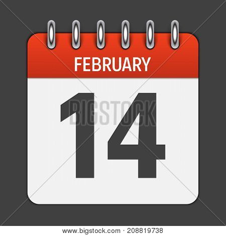 February 14 Calendar Daily Icon. Vector Illustration Emblem. Element of Design for Decoration Office Documents and Applications. Logo of Day, Date, Month and Holiday. Valentine s Day. EPS10
