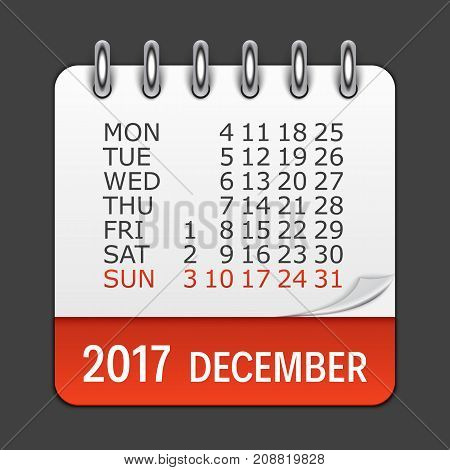 December 2017 Calendar Daily Icon. Vector Illustration Emblem. Element of Design for Decoration Office Documents and Applications. Logo of Day, Date, Month and Holiday. EPS10