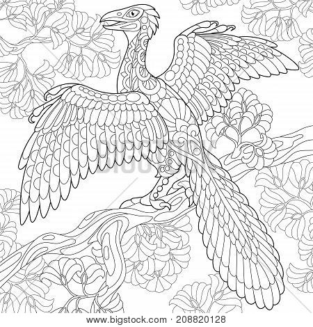 Coloring page of archeopteryx dinosaur - fossil bird of the late Jurassic period. Freehand sketch drawing for adult antistress coloring book in zentangle style.