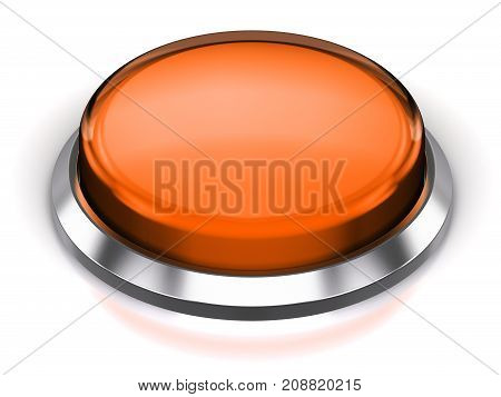 3D render illustration of the orange glossy push press button or icon with shiny metal bezel isolated on white background with reflection effect