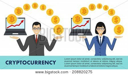 Bitcoin sign digital currency cryptocurrency electronic money. Bitcoin mining exchange mobile banking. Business people with laptop. Relocating bitcoins into dollars. Up graph with bitcoin sign cryptocurrency in flat icon design in laptop.