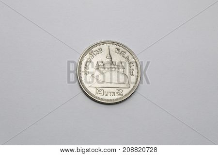 one silver money coin isolated in white