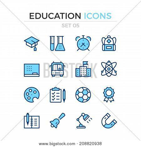 Education icons. Vector line icons set. Premium quality. Simple thin line design. Modern outline symbols, pictograms
