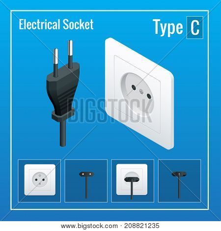 Switches and sockets set. AC power sockets realistic vector illustration