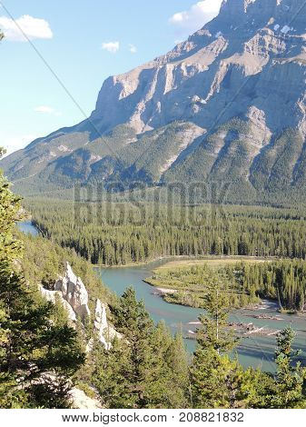 Earth pyramids or Hoodoos in the Bow Valley, by Tunnel Mountain and Mount Rundle, Banff National Park, Alberta, Canadian Rocky Mountains, Canada