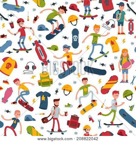 Young skateboarder active people sport vector extreme active skateboarding urban jumping tricks seamless pattern background