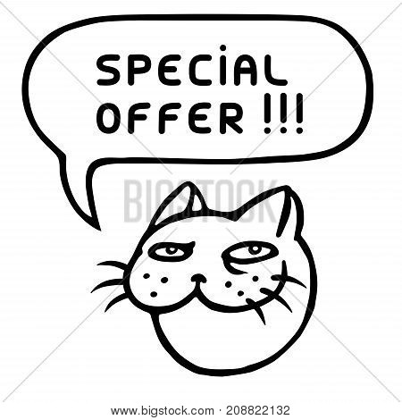Special offer. Cartoon cat head. Speech bubble. Vector illustration. Cheerful pet muzzle. Animal character.