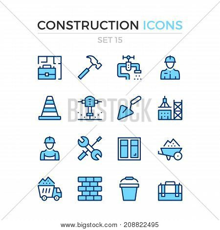 Construction icons. Vector line icons set. Premium quality. Simple thin line design. Modern outline symbols, pictograms