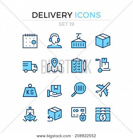 Delivery icons. Vector line icons set. Premium quality. Simple thin line design. Modern outline symbols, pictograms