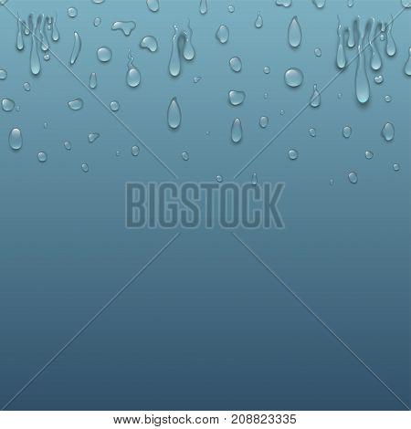 Realistic pure and transparent water drops splash liquid moisture background. Vector illustration
