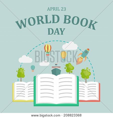 World Book Day, 23 April. Open books imagination concept illustration vector.