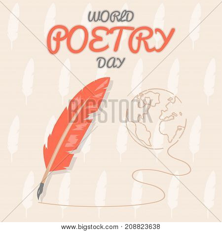 World Poetry Day, 21 March. Feather pen conceptual illustration vector.