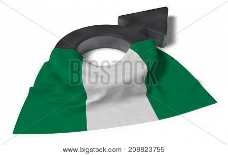 mars symbol and flag of nigeria - 3d rendering
