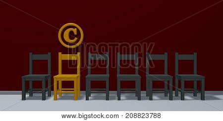 copyright symbol and row of chairs - 3d rendering