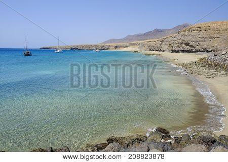 View on the beach Playa Las Coloradas on the Canary Island Fuerteventura Spain.