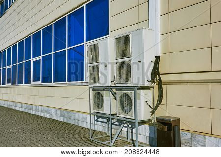 Wall Elements Of Air Conditioning In A Large Shopping Center