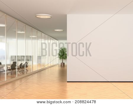 Modern Office Interior With Blank Wall