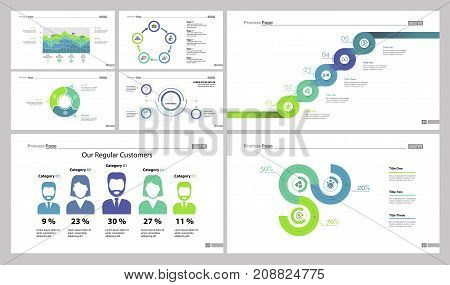 Infographic design set can be used for workflow layout, diagram, annual report, presentation, web design. Business and research concept with process, bar, line and percentage charts.