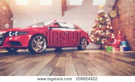 car in chrismas room and decorated. chrismas tree is in a white room. 3D renderring and illustration