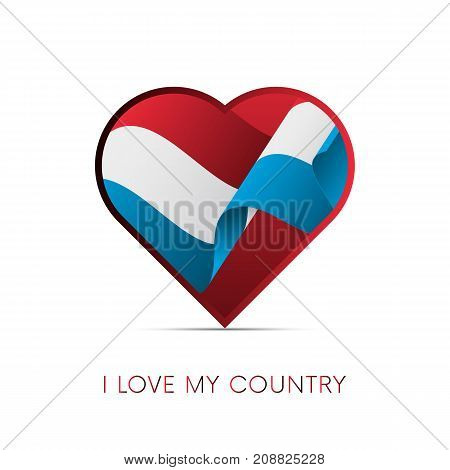 Luxembourg flag in heart. I love my country. Sign. Vector illustration.