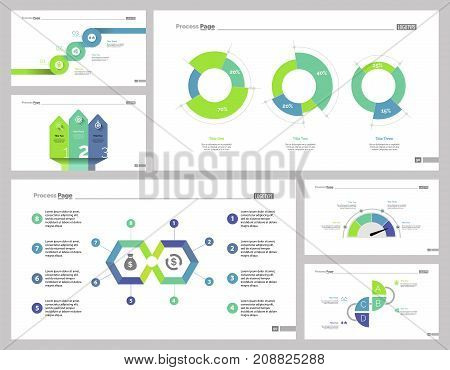 Auditing business set can be used for layout, web design, annual report. Finances and statistics concepts with steps, doughnut, process charts, percentage and options diagrams