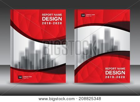 Annual report brochure flyer template, red cover design, business advertisement, magazine ads, catalog vector layout in A4 size