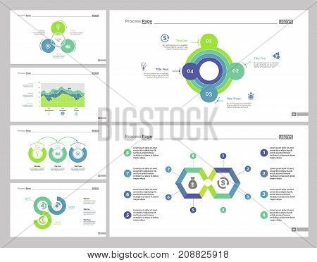 Business target set can be used for workflow layout, web design, annual report. Finances and money concept with area, process and line charts, percentage diagram