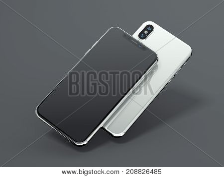 Two modern smartphones isolated on gray background. 3d rendering