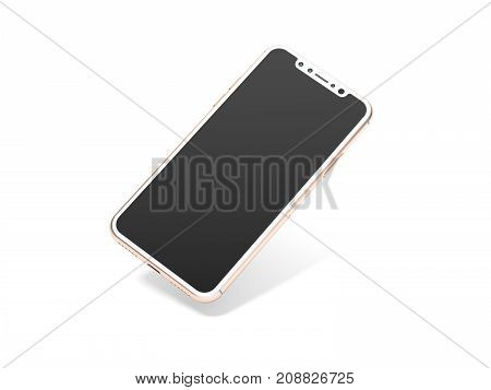 Modern golden smartphone isolated on white background. 3d rendering
