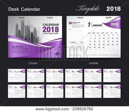 Set Desk Calendar 2018 template design, purple cover, Set of 12 Months, Week start Sunday