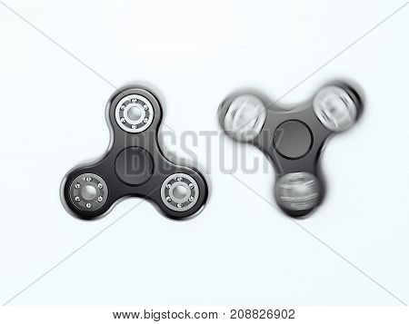 Black fidget spinners isolated on white background. 3d rendering