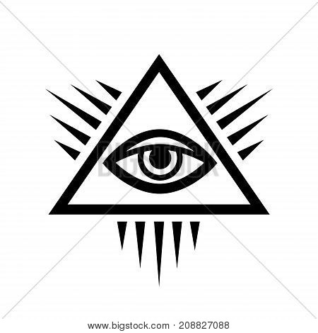 All-Seeing Eye of God (The Eye of Providence | Eye of Omniscience | Luminous Delta). Ancient Mystical Sacral Symbol of Illuminati and Freemasonry.