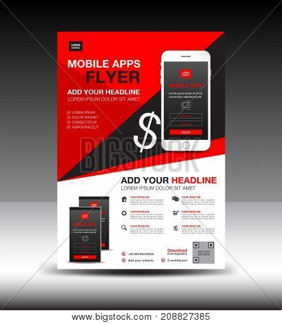 Mobile Apps Flyer template. Business brochure flyer design layout. smartphone icons mockup. application presentation. Magazine ads. red cover. poster. leaflet. infographics. advertisement. in A4 size