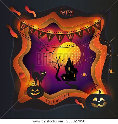 Halloween. Halloween party. Halloween greeting card 3D paper art, cut paper background. Halloween illustration with Halloween pumpkin, bat, trees, House, moon and witch woman for Halloween Holiday. Halloween vector illustration. Paper cut.